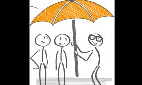 Des personnages souriants sont protégés par un parapluie