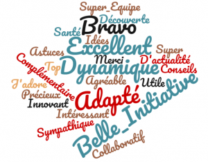 nuage de mots qui liste les appréciations et commentaires des participants au webinaire sur le télétravail
