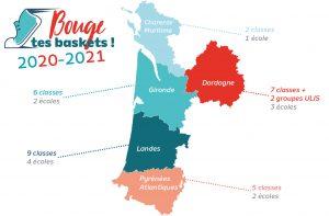 Carte d'intervention de l'action Bouge tes Baskets en Nouvelle-Aquitaine en 2020-2021